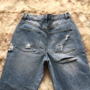 » NWOT High waisted distressed mom jeans